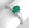 Genuine Emerald Ring - Vintage Styled 3 Stone in 14k white gold