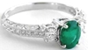 Emerald Ring - Antique Styled Past Present Future in 14k white gold