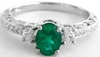 Emerald Ring - Vintage Styled 3 Stone in 14k white gold