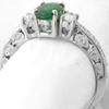 Natural Emerald Ring - Vintage Styled 3 Stone in 14k white gold