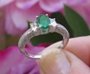 Oval Natural Emerald Ring - 3 Stone Vintage Style Engagement Ring in 14k white gold