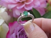 Oval Natural Emerald Ring - 3 Stone Antique Style Diamond Engagement Ring in 14k white gold
