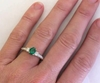 Oval Emerald Ring - 3 Stone Ring in 14k white gold