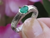 Natural Emerald Solitaire Ring - Semi Bezel East West Set Oval Emerald Ring in 14k white gold