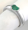 Solitaire Emerald Ring - 0.50 ct Semi Bezel Set Oval Emerald Ring in 14k white gold - E-5443
