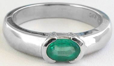 Solitaire Emerald Ring in White Gold