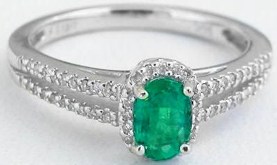 Genuine Oval Emerald and Diamond Ring in 14k white gold