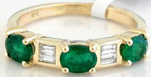 Natural Emerald Ring - Emerald and Baguette Diamond Anniversary Band