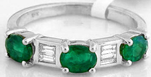 Emerald Ring - Three Stone Oval Emerald and Baguette Diamond Ring in 14k white gold