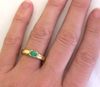 Real Oval Emerald Ring in 14k yellow gold - East West