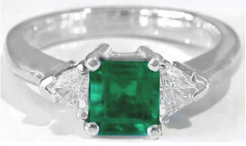 Genuine Colombian Emerald Ring with Trillion Diamonds in White Gold