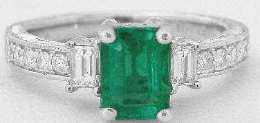 Genuine Emerald Ring with Baguette Diamonds in 14k white gold