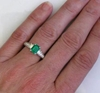 1 carat Emerald Ring with Baguette Diamonds in white gold setting