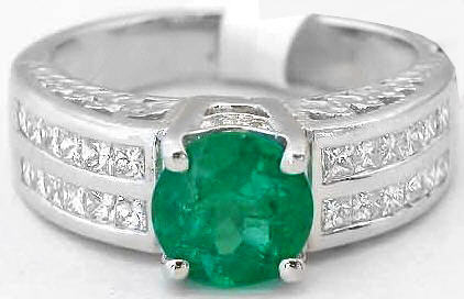 Round Emerald Ring in 18k white gold