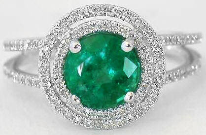 Emerald Ring - Natural Round Emerald in White Gold