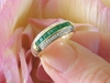 Channel Set Natural Square cut Genuine Emerald Stackable Band Ring in real solid 14k yellow gold