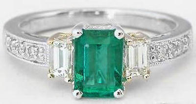 Genuine Emerald Ring - 3 Stone with Baguette Diamonds in 14k white gold