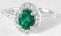 Genuine Colombian Emerald Ring - 1.21 ctw Oval Emerald and Diamond Halo Ring in 14k white gold