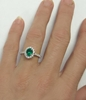 Genuine Emerald Ring with Diamond Halo. Alternate engagement ring in white gold..