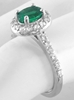 Natural Emerald Ring - Oval Colombian Emerald and Diamond Halo Ring in 14k white gold