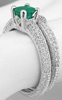 Emerald and Diamond Engagement Ring and Band in 14k white gold