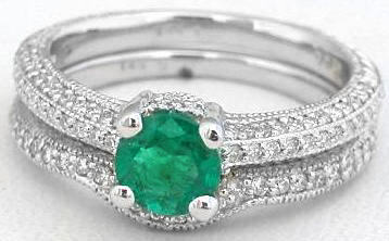 Natural Emerald Engagement Ring and Band Set in 14k white gold