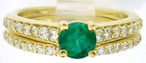 Natural Emerald Engagement Ring Set -14k yellow gold