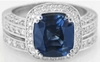 Genuine Madagascar Sapphire Engagement Ring Set in 18k White Gold