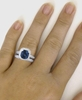 Genuine Madagascar Sapphire Diamond Engagement Ring Set in 18k White Gold