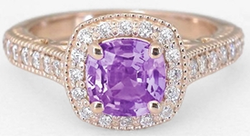 Untreated Purple Sapphire Ring in rose gold