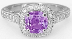 Purple Sapphire Ring - Untreated Natural Cushion Cut Sapphire with Diamond Halo in 14k white gold