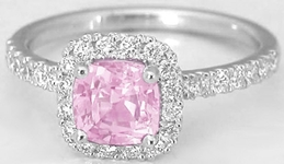 Untreated Light Pink Sapphire Ring with Cushion Sapphire in 14k white gold
