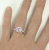 Round Pink Sapphire Ring with Diamond Halo