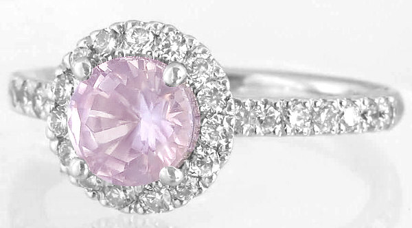 Light Pink Sapphire Ring - Round Genuine Sapphire with Diamond Halo in 14k White Gold