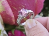 Platinum Cushion Cut Natural Pink Sapphire Wedding Ring with Baguette Diamonds in  and Baguette Diamond Ring for sale
