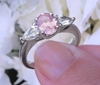 Oval Real Light Pink Sapphire Three Stone Ring with Natural White Sapphire side gemstones in sold 14k white gold