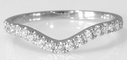 Contoured Real Diamond Engagement Band in solid 14k white gold