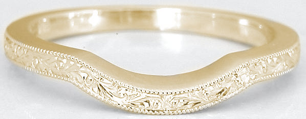 Vintage carved matching wedding band in 14k yellow gold