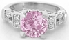 Untreated Pink Sapphire Ring - Natural Round and Diamond in 14k white gold