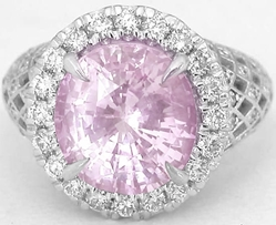 Natural Pink Sapphire Ring with Diamond Halo