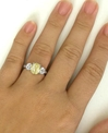 Unheated Yellow Sapphire Ring - 3.32 ctw Sapphire and White Sapphire Ring - 14k white gold