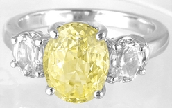 Diamond Alternative-Untreated Yellow Sapphire and White Sapphire Ring for sale
