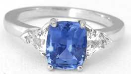 Cushion Blue and Trillion White Sapphire ring in 14k white gold