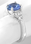 Genuine Pear Blue Sapphire and Trillon White Sapphire Ring in White Gold