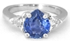 Blue and White Sapphire Ring: 1.94 ctw Ceylon Pear Blue and Trillon White Sapphire Past Present Future Ring in 14k white gold (SBR-110)