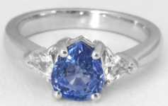 Pear Blue and White Trillion Sapphire Three Stone Ring in 14k white gold