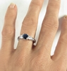 Natural Blue Sapphire and White Sapphire Three Stone Ring in 14k white gold