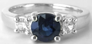 Round Sapphire Ring - 1.27 ctw Blue Sapphire and White Sapphire in 14k white gold