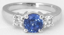 Diamond Alternative All Sapphire Ring - Blue and White Sapphire Ring in 14k white gold