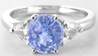 Diamond Alternative- Natural Oval Blue Saphire and Trillion Sapphire Ring in 14k white gold